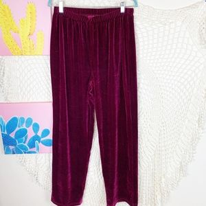 Velvet red elastic waist relaxed fit pants Large